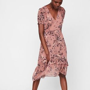 Express pink floral ruffle dress